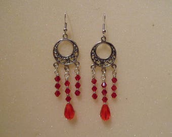 Red dangle earrings