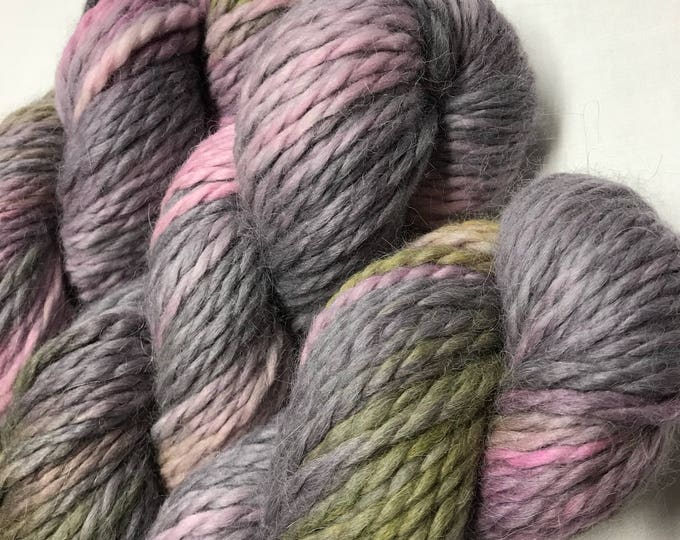 100g Baby Alpaca  Chunky / Bulky Yarn, hand dyed in Scotland, grey, pink, yellow, granite blush, so soft and squishy!