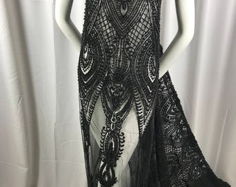 Embroidered Beaded Fabric - Black Lace Heavy Beads By The Yard For Bridal Veil Flower Mesh Dress Top Wedding Decoration