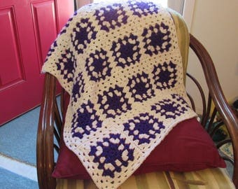 White and Purple Lap Blanket