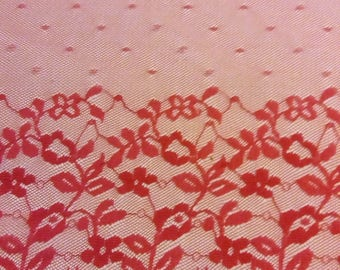 lace trimming.  Pink polyester lace. 5 m x 23 cm wide
