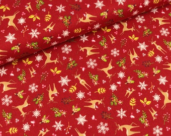 Cotton fabric Rupert Snow on red (9.50 EUR/Meter)