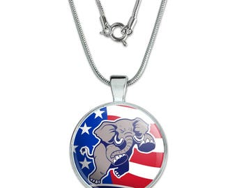 """Angry Republican Elephant Politics GOP American Flag 1"""" Pendant with Sterling Silver Plated Chain"""