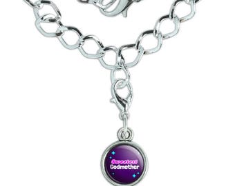 Sweetest Godmother Silver Plated Bracelet with Antiqued Charm