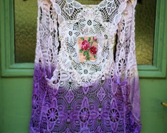 Upcycled Recycled Reclaimed Embellished Lace Vest Purple Overdyed Rose Vintage Linens
