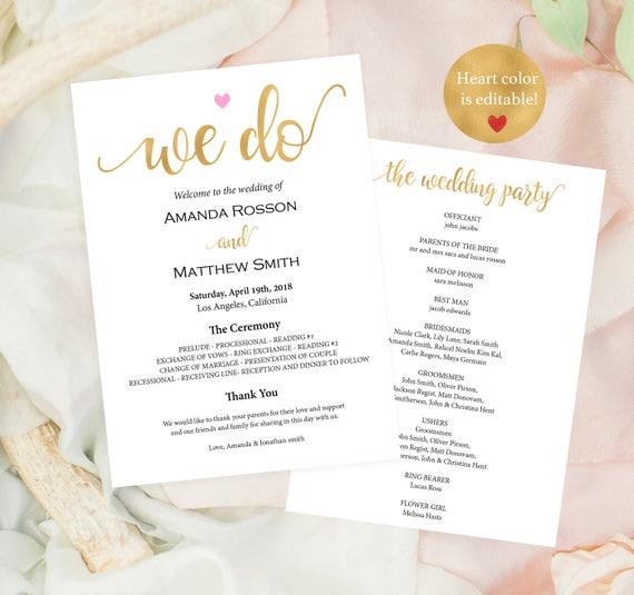 Gold wedding programs instant download