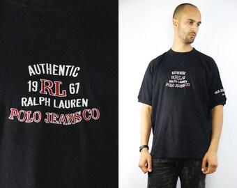 RALPH LAUREN T-Shirt / Vintage Ralph Lauren T-Shirt / Ralph Lauren Polo Jeans / Black Ralph Lauren T-Shirt / 90s Ralph Lauren / Polo Jeans