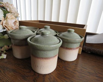 a set of 1980s brailsford pottery spice jars - Spice Jars