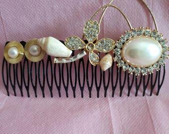 Seashells Hair Comb,Wedding Comb,Seashells Comb,Beach Wedding