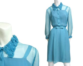 Evening silk dress vintage baby blue roses Chiffon elegant gown sz L from 60s in Perfect Condt