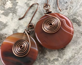 Handmade copper, agate earrings.