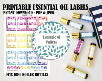 Printable Essential Oil Labels - 10ml Rollerball Labels Leaf Pattern in Bright Rainbow Colors