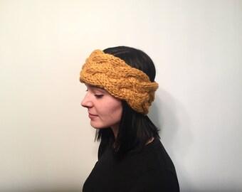 Double Braided Cable Knit Winter Headband // Women's Chunky Knit Ear Warmer