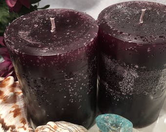Set of (2) - Dark Purple / Black Cherry Candles