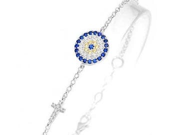 Celebrity Evil Eye Cross Bracelet