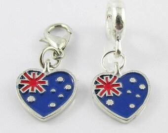 Australia Flag Heart Charm Select European Charm or Clip on