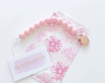 Pacifier Clip | Pacifier Holder | Rose Gold Baby | Pacifier Clip | Baby Shower Gift  | Soother Clip | Binky Clip | Teether for Baby