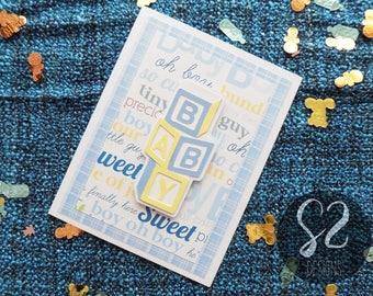 Handmade Baby Boy Blocks Card
