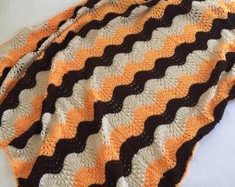 Retro Vintage handmade crochet afghan -orange, tan, brown