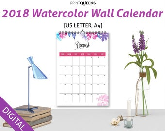 2018 Watercolor Wall Calendar Printable, Monthly Calendar 2018, 2018 Wall Calendar, 2018 Desk Calendar,  US Letter A4, Letter Size