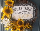 Sunflower Bee Wreath