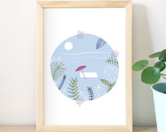 Tropical print, illustration, beach, graphic, decorative art, home decor, design graphics, vegetable, summer, sea, ocean, vacation