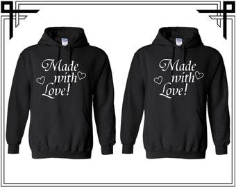 Made With Love Couple Hoodies Made With Love Couple Hooded Sweatshirt Party Top Valentines Day & Anniversary Gift Gift For Him Gift For Her