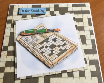 Crossword Decoupage Card