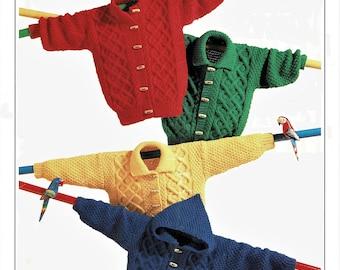 Childrens Aran Jackets, with Optional Hood, Vintage Knitting Pattern, PDF, Digital Download