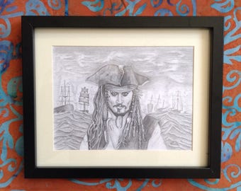 Original pencil drawing of Johnny Depp as Captain Sparrow from Pirates of the Caribbean.