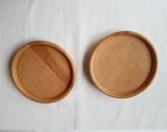 Two vintage handmade wooden saucers / plates / dishs / coasters / trays