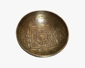"""12"""" Special Mandala Carved handmade Singing Bowl from Nepal"""