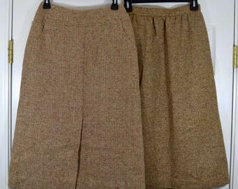 "2 Preppy Skirts Brown Wool Skirt Tweed Skirt A-Line Skirt 25"" Waist 29"" Length Neiman Marcus Tudor Square Lined Fall Autumn Winter Career"