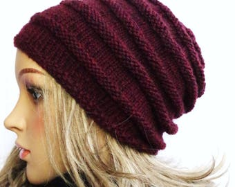 Burgundy Merino-hat