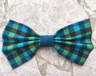 Blue and green turquoise hair bow/bow tie