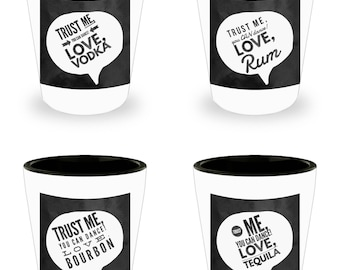 You CAN Dance! Love, Rum! Set of 4 Hilariously Funny Shot Glasses With Humorous Alcohol Related Sayings! White Ceramic Shot Glasses gift!