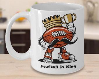 FOOTBALL IS KING Mug Funny Coffee Lover Football Player Coach Referee Fan Cartoon Lover Gift 15 oz White Coffee Cup / Tea Cup / Mug!