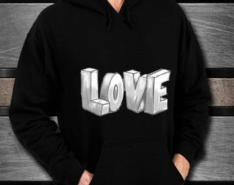 LOVE Black Unisex Hoodie Stylish Gift of Love and Affection Wrapped in Soft, Warm Hoodie Sweatshirt Gift for Spouse Girlfriend Parent Child