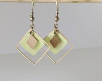 Gemetriques leather earrings were triple pistachio spring light green diamond