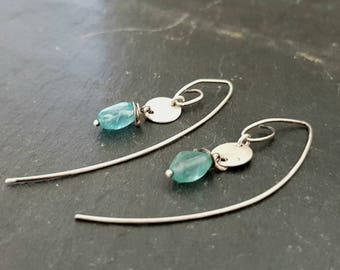 Handmade Sterling Silver Light Blue Apatite Earrings