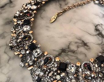 Black and Gold Rhinestone Statement Bib Necklace
