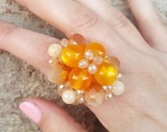 Honey yellow Multi Beads Ring