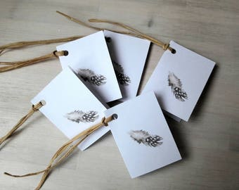 5 gift tags - feather of a guinea- fowl