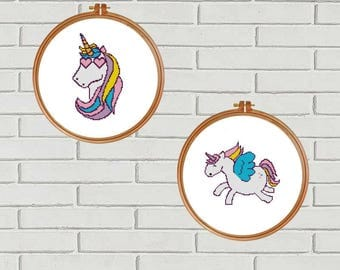 Unicorn cross stitch pattern/Rainbow cross stitch/fantasy cross stitch/rainbow unicorn/nursery cross stitch/Unicorn Chart/#09-008