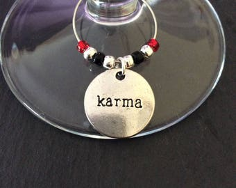 Karma wine glass charm / wine charms / wine glass charms / table decorations / quirky gift / wine lover gift