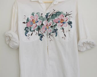Floral hand painted shirt