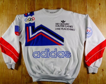 20% OFF Vintage ADIDAS Olympic Winter Games Lake Placid 1980 Spell Out Sweatshirt Very RARE