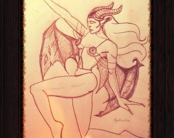 "Original Hand Drawn ""Goddess Fauna"" Fantasy Art signed by Artist Joan Li"