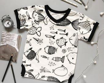 Toddlers Kids Print T-Shirt, Kids white T-Shirt, Toddlers Printed T Shirt, Modern Kids Oversized T-Shirt, Fish Print