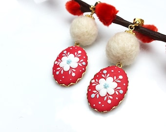 Polymer clay Jewlery of handmade earrings - Red and White flower  | FIFI CLAY